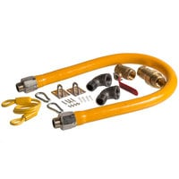 Regency 36 inch Mobile Gas Connector Hose Kit with 2 Elbows, Full Port Valve, Restraining Device, and Quick Disconnect - 3/4 inch