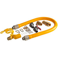 Regency 36 inch Mobile Gas Connector Hose Kit with 2 Elbows, Full Port Valve, Restraining Device, Quick Disconnect, and Swivel Connector - 3/4 inch