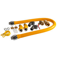 Regency 48 inch Mobile Gas Connector Hose Kit with 2 Elbows, Full Port Valve, Restraining Device, Quick Disconnect, and 2 Swivel Connectors - 1 inch