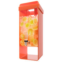 Rosseto LD165 3 Gallon Orange Acrylic Beverage Dispenser with Infusion Filter and Ice Core