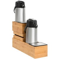 Rosseto SB114 Natura Bamboo Dual Airpot Holder with Acrylic Catch Trays