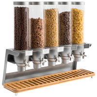 Rosseto EZ573 EZ-SERV 4.9 Liter Five Canister Tabletop Snack / Cereal Dispenser with Stainless Steel Base and Bamboo Catch Tray