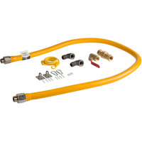 Regency 72 inch Mobile Gas Connector Hose Kit with 2 Elbows, Full Port Valve, Restraining Device, and Quick Disconnect - 3/4 inch