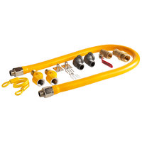Regency 48 inch Mobile Gas Connector Hose Kit with 2 Elbows, Full Port Valve, Restraining Device, Quick Disconnect, and 2 Swivel Connectors - 3/4 inch