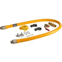 Regency 60 inch Mobile Gas Connector Hose Kit with 2 Elbows, Full Port Valve, Restraining Device, and Quick Disconnect - 3/4 inch