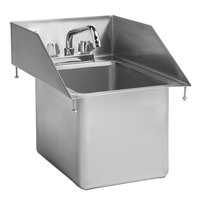 Regency 10 inch x 14 inch x 10 inch 16-Gauge Stainless Steel One Compartment Drop-In Sink with 8 inch Swing Faucet and Side Splashes