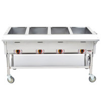 APW Wyott PST-4S Four Pan Exposed Portable Steam Table with Stainless Steel Legs and Undershelf - 2000W - Open Well, 208V