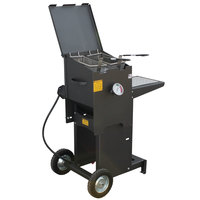 R & V Works FF2-R-ST 4 Gallon Liquid Propane Outdoor Cajun Deep Fryer with Stand - 90,000 BTU