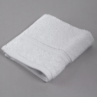 Oxford Vicenza Bianco 13 inch x 13 inch 100% Ringspun Combed Cotton Wash Cloth with Dobby Border 1.8 lb. - 288/Case