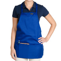 Chef Revival Royal Blue Poly-Cotton Customizable Bib Apron with 1 Pocket - 28 inchL x 25 inchW