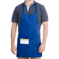 Chef Revival 602BAFH-RB Customizable Professional Front of the House Royal Blue Bib Apron - 28 inchL x 25 inchW