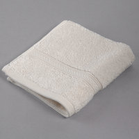 Oxford Vicenza Avorio 13 inch x 13 inch 100% Ringspun Combed Cotton Wash Cloth with Dobby Border 1.8 lb. - 12/Pack