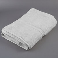 Oxford Vicenza Bianco 30 inch x 58 inch 100% Ringspun Combed Cotton Bath Towel with Dobby Border 20 lb. - 24/Case