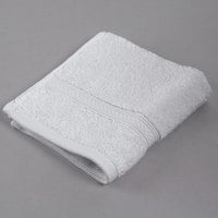 Oxford Vicenza Bianco 13 inch x 13 inch 100% Ringspun Combed Cotton Hotel Wash Cloth with Dobby Border 1.8 lb. - 12/Pack