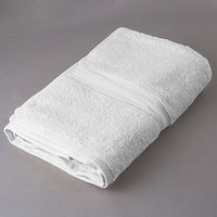 Oxford Vicenza Bianco 27 inch x 54 inch 100% Ringspun Combed Cotton Bath Towel with Dobby Border 16 lb. - 24/Case