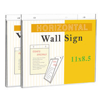 Universal UNV76883 11 inch x 8 1/2 inch Clear Horizontal Wall-Mount Sign Holder   - 2/Pack