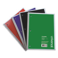 Universal UNV66634 8 inch x 10 1/2 inch Assorted Color Wire-Bound Quadrille Ruled Notebook   - 4/Pack