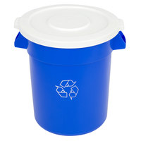 Continental Huskee 20 Gallon Blue Recycling Trash Can and Lid Kit