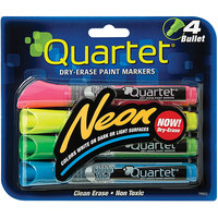 Quartet 79551 Assorted 4-Color Neon Bullet Tip Dry Erase Marker Set - 4/Pack