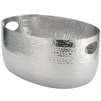 American Metalcraft ATHS10 Silver Hammered Aluminum Beverage Tub - 15 inch x 10 3/4 inch x 7 1/4 inch
