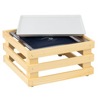 Frilich 13 inch x 13 inch x 6 11/16 inch Square Untreated Wood Display Kit with Riser, Cooling Set, and White China Plate