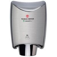 World Dryer K-971P2 SMARTdri Plus Brushed Chrome Aluminum Surface-Mounted Hand Dryer - 110-120V, 1200W