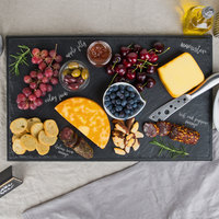 Tablecraft MGD2112 Frostone 21 inch x 12 7/8 inch x 1 1/8 inch Rectangular Faux Slate Melamine Display Tray