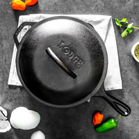 Lodge L8SK3 10 1/4 inch Pre-Seasoned Cast Iron Skillet with Lid