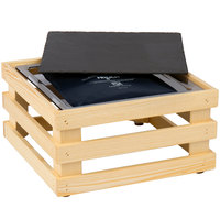 Frilich 13 inch x 13 inch x 6 11/16 inch Square Untreated Wood Display Kit with Riser, Cooling Set, and Black China Plate