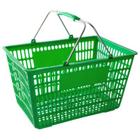 Regency Green 18 3/4 inch x 11 1/2 inch Plastic Grocery Market Shopping Basket - 12/Pack