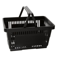 Regency Black 16 1/8 inch x 11 inch Plastic Grocery Market Shopping Basket with Plastic Handles - 12/Pack