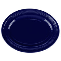 Tuxton CCH-136 Concentrix 13 3/4 inch x 10 1/2 inch Cobalt Oval China Platter - 6/Case