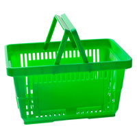 Regency Green 16 1/8 inch x 11 inch Plastic Grocery Market Shopping Basket with Plastic Handles - 12/Pack