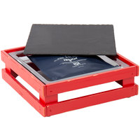 Frilich 13 inch x 13 inch x 4 1/8 inch Square Vintage Red Wood Display Kit with Riser, Cooling Set, and Black China Plate