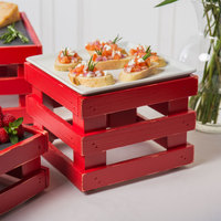 Frilich 9 inch x 9 inch x 6 11/16 inch Square Vintage Red Wood Display Kit with Riser, Cooling Set, and White China Plate