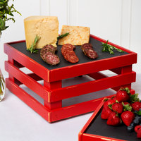 Frilich 13 inch x 13 inch x 6 11/16 inch Square Vintage Red Wood Display Kit with Riser, Cooling Set, and Black China Plate