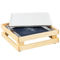 Frilich 13 inch x 13 inch x 4 1/8 inch Square Untreated Wood Display Kit with Riser, Cooling Set, and White China Plate