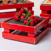 Frilich 9 inch x 9 inch x 4 1/8 inch Square Vintage Red Wood Display Kit with Riser, Cooling Set, and Black China Plate