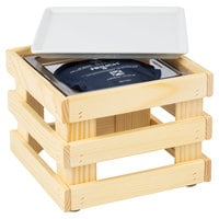 Frilich 9 inch x 9 inch x 6 11/16 inch Square Untreated Wood Display Kit with Riser, Cooling Set, and White China Plate