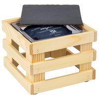 Frilich 9 inch x 9 inch x 6 11/16 inch Square Untreated Wood Display Kit with Riser, Cooling Set, and Black China Plate