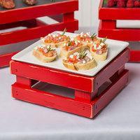 Frilich 9 inch x 9 inch x 4 1/8 inch Square Vintage Red Wood Display Kit with Riser, Cooling Set, and White China Plate