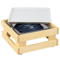 Frilich 9 inch x 9 inch x 4 1/8 inch Square Untreated Wood Display Kit with Riser, Cooling Set, and White China Plate