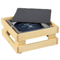 Frilich 9 inch x 9 inch x 4 1/8 inch Square Untreated Wood Display Kit with Riser, Cooling Set, and Black China Plate