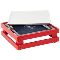 Frilich 13 inch x 13 inch x 4 1/8 inch Square Vintage Red Wood Display Kit with Riser, Cooling Set, and White China Plate