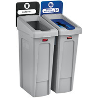 Rubbermaid 2007914 Slim Jim 2-Stream Recycling Station Kit with Open and Mixed Recycling Lids