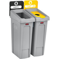 Rubbermaid 2007916 Slim Jim 2-Stream Recycling Station Kit with Open and Bottle Lids