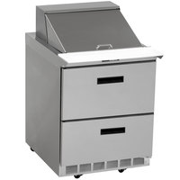Delfield UCD4427N-9M 27 inch 2 Drawer Mega Top Reduced Height Refrigerated Sandwich Prep Table