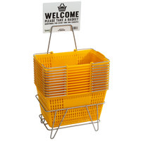 Regency Yellow 18 3/4 inch x 11 1/2 inch Plastic Grocery Market Shopping Baskets with Stand and Sign