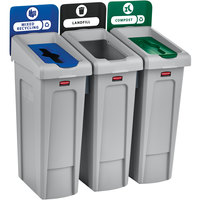 Rubbermaid 2007918 Slim Jim 3-Stream Recycling Station Kit with Open, Closed, and Mixed Recycling Lids