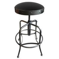 Holland Bar Stool 910CLBlkVyl Clear Coat Steel Height Adjustable Stool with Black Vinyl Seat